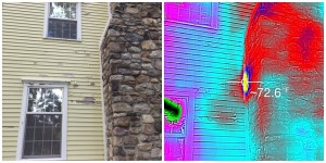 A side by side view of the house and the thermal image pointing to the bees' location