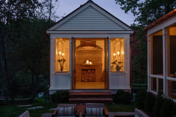 outdoor kitchen entrance hudson valley night